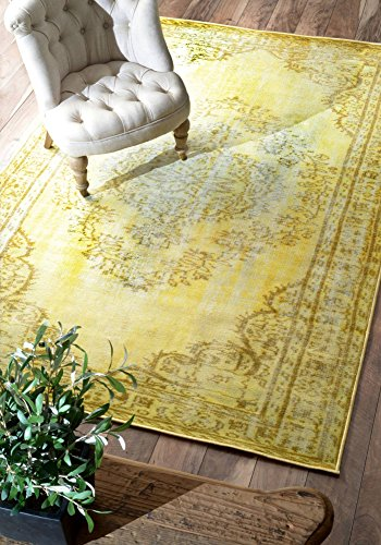 nuLOOM Remade Overdyed Collection Chroma Transitional Traditional Machine Made Area Rug, 8-Feet 2-Inch by 9-Feet 11-Inch, Funky Yellow