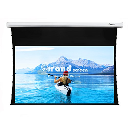 Grand Screen 4K/3D/UHD Deluxe Tab-tensioned Projector Screen,100-inch Diagonal 16:9,with PET white screen material,with wireless 12V projector trigger,Model 6JGZP100H Tensioned Projection Screen