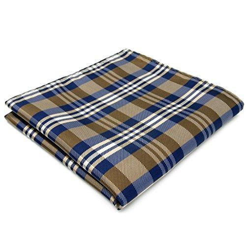 Shlax&Wing Checked Blue Brown Khaki Handkerchieves Mens Neckties Hanky Pocket Square
