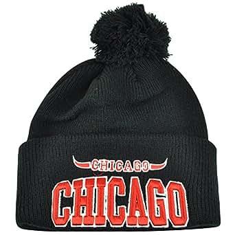 Chicago City Chi Town Cuffed Black Beanie Pom Pom Knit One