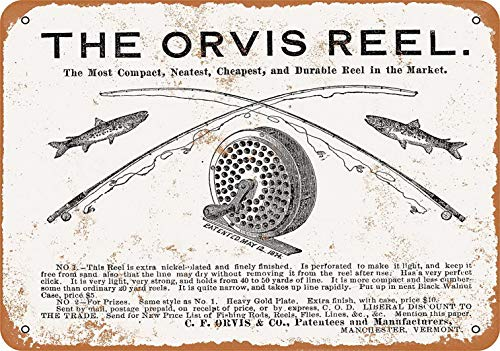 (YFULL 12 x 16 Metal Sign - 1876 Orvis Fishing Reels - Vintage Look)
