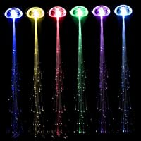 Beyoung® LED Light Color Changing Hair Braid Clip, Multicolor Fiber Optic Flash Barrettes for Halloween Christmas Party Decoration, 12Pcs