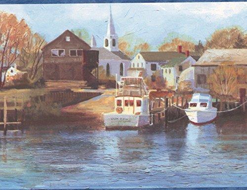 (Sailboats Marina Yacht Club Church Village Life Blue Trim Wallpaper Border Retro Design, Roll 15' x 7'')