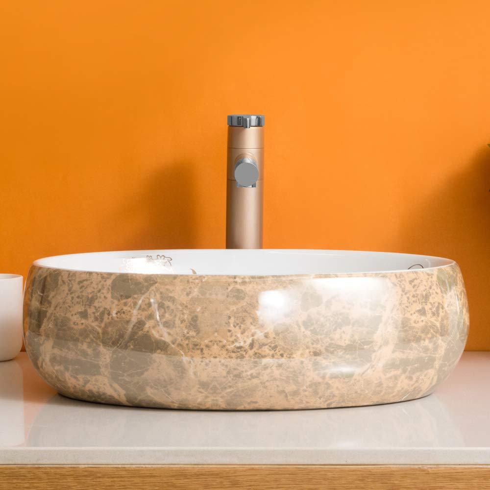 robinet non inclus Homelava Lavabo de salle de bain Blanc Comptoir de lavabo en c/éramique blanc cass/é