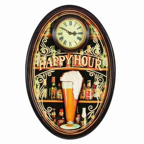 RAM Gameroom Products Pub Sign with Clock, Happy Hour