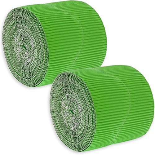 Juvale 2-Rolls Green Bulletin Board Scalloped Border Decoration for Classroom, 2 Inches x 50 -