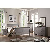 Acme Furniture 25510F Louis Philippe III Bed, Full, Antique Gray