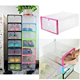 Bazaar 1 x Transparent Plastic Stackable Shoe Box Case Home Storage Container Office Organiser