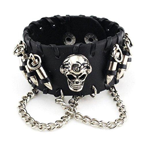 Fariishta Jewelry Bullet Skull Chain Leather Cuff Bracelet Black