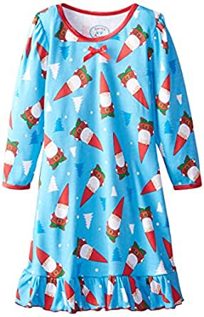 Sara's Prints Little Girls' Puffed Sleeve Nightgown, Gnomes Soft Blue, 3