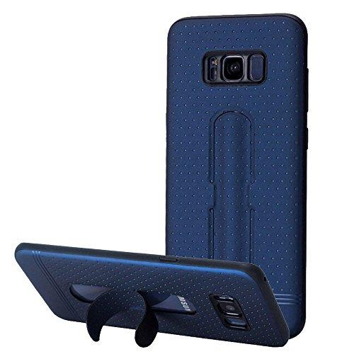 XIAOGUA Cases & Covers, Lenuo para Samsung Galaxy S8 3D textura plegable invisible TPU + PC caso de combinación con soporte ( Color : Black ) Blue