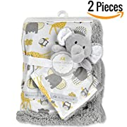 "Baby Blanket + Plush Toy Or Neck Pillow 30"" X 40""— Swaddle Blanket - Security Blanket - Toddler Blanket- Newborn Blanket- Baby Blankets for Girls & Boys - Para Bebe Niña Bebe Niño (Yellow)"