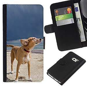 All Phone Most Case / Oferta Especial Cáscara Funda de cuero Monedero Cubierta de proteccion Caso / Wallet Case for Samsung Galaxy S6 EDGE // Cool Summer Dog Chilling