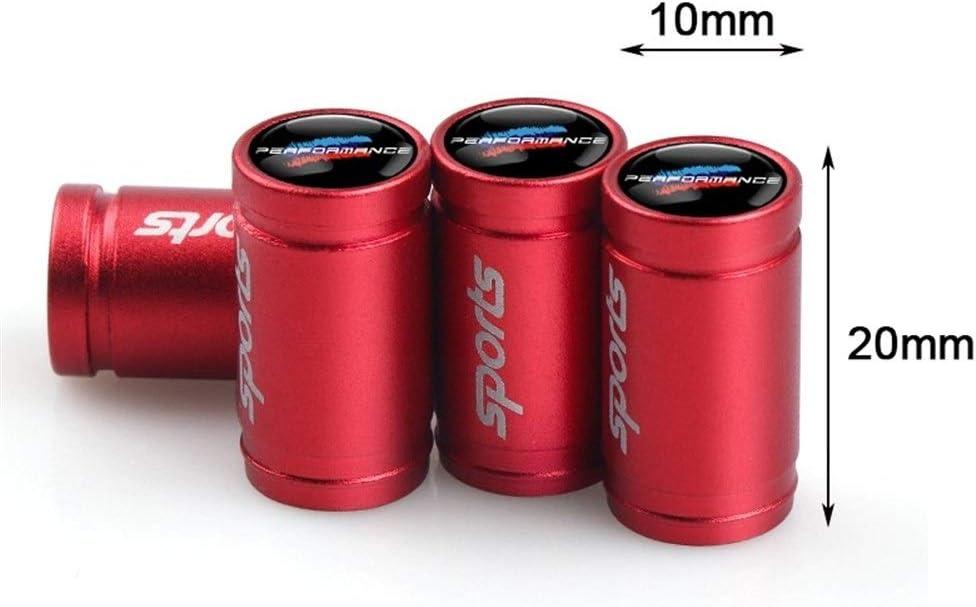 Performance m/étal M de Styling voiture embl/ème voiture des pneus Valve Cap Tire Air Potences Casquettes for BMW E30 E36 E60 E46 E90 E71 E87 F30 Color : Red