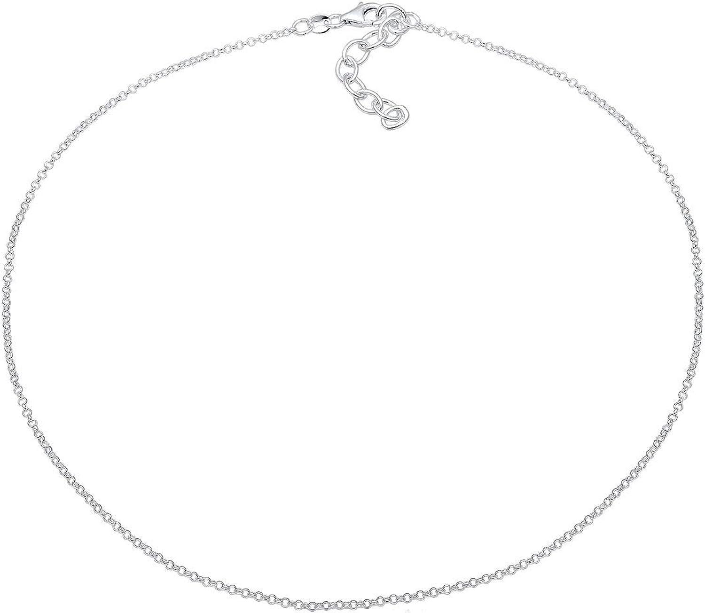 Elli Collana da donna, semplice, girocollo, in argento sterling 925, placcato oro Silber
