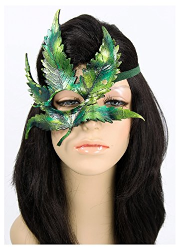 Dryad Costume (Handcrafted Leather Cannabis Leaf Mask Green (Right Eye))