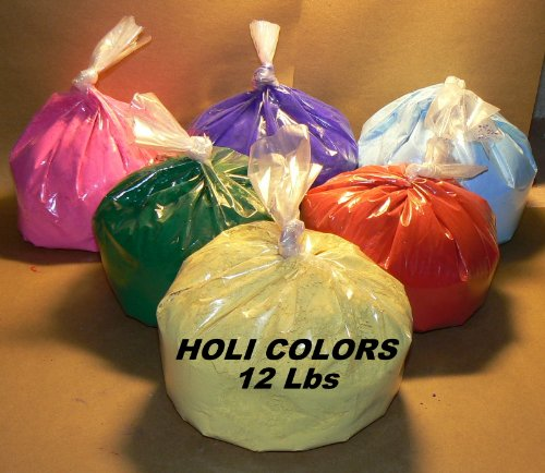 (HOLI Colors 12 Lbs 6 colors (2lbs ea color) RED, YELLOW, PINK, BLUE, GREEN, AND PURPLE - SHIPS FROM LOS ANGELES 3 TO 6 DAYS DELIVERY)