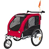 Best Choice Products 2 in 1 Pet Dog Bike Trailer Bicycle Trailer Stroller Jogger w/ Suspension Red