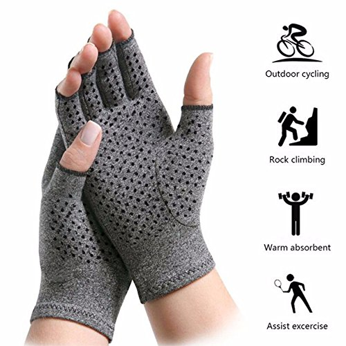 Fingertip Spandex Gloves - KIWI RATA Non-Slip Arthritis Gloves, Cotton & Spandex Arthritis Rehabilitation Bumps Training Nursing Grip Gloves Open Finger Keep Hands Warm & Relieves Pain for Men & Women