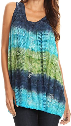 Sakkas 17525 - Renee Dip Dye Floral Print Tank with Sequins and Embroidery - Navy/Green - OS ()