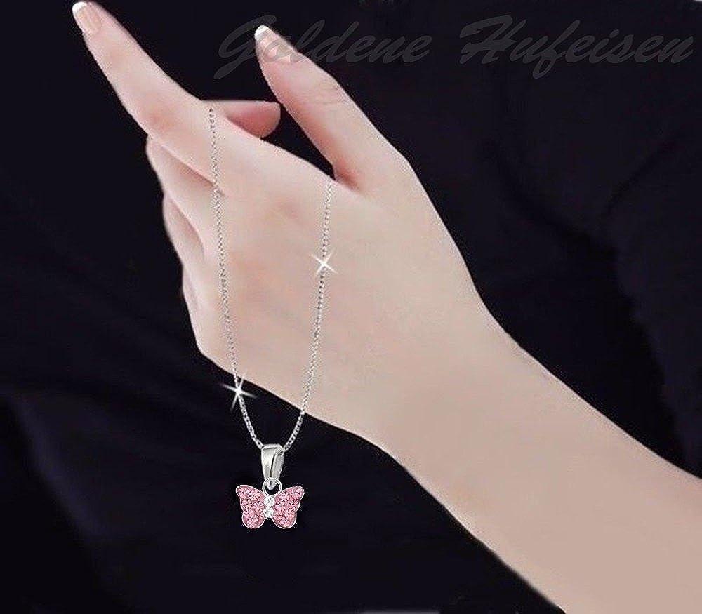 GH* Mini pendentif papillon avec pendentif en forme de papillon et cha/îne en argent sterling 925 Rose 38 /à 50 cm