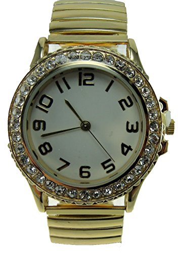 Crystal Stretch Quartz Watch (Women's Gold Stretch Band Watch Stainless Steel Stretch Band White Dial Crystal Dial Easy Read)