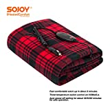 "Sojoy 12V Heated Travel Electric Blanket for Car, Truck,Boats or RV with High/Low Temp Control Checkered Black and Burgundy(60""x39"")"