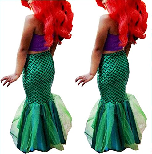 Baby Girls Little Mermaid Tail Bikinis Set Costume Swimwear Outfits Dress (Little Mermaid Kids Costume)