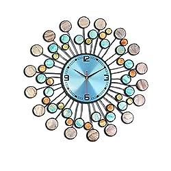 Art wall charts,Mediterranean style Creative clock Living room Bedroom Decoration Home mute wall clock Blue-Blue