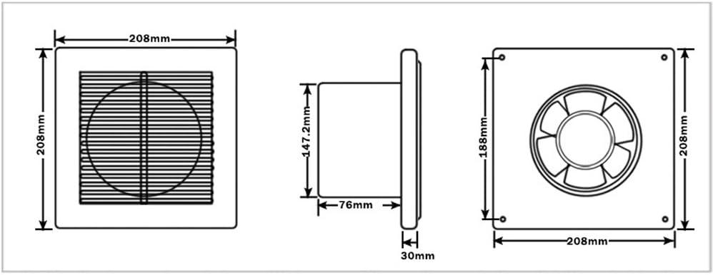 VINGO/® Wandventilator L/üfter Abluftventilator Leise K/üche WC Badl/üfter Deckenl/üfter WKA /Ø 150 mm
