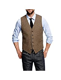 HBDesign Mens 1 Piece 6 Button Slim Trim Fit Party Dress Vest