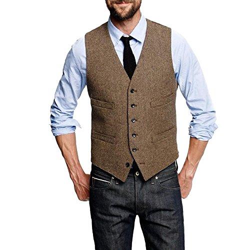 HBDesign Mens 1 Piece 6 Button Slim Trim Fit Party Dress Vest-40R