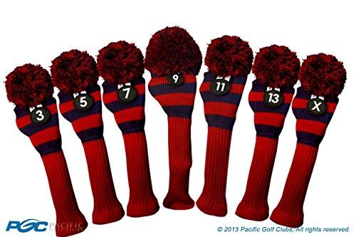 薬局ヒントアベニューMajekゴルフクラブ3 5 7 9 11 13 xレッドandブルーLimited Editionフェアウェイウッド木製ヘッドカバーツアーニットレトロヴィンテージPomクラシックロングネックメタルLongneck Woods Headcovers