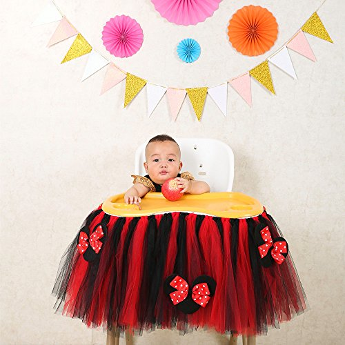 Black and Red High Chair Tutu Skirt, 1st Birthday Baby Tutu Skirt for High Chair Decoration for Party Supplies (Black and red)