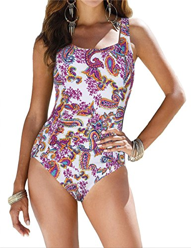 Firpearl Women's Retro Halter One Piece Bathing Suit Ruched Tummy Control Swimsuit Orange Paisley US16