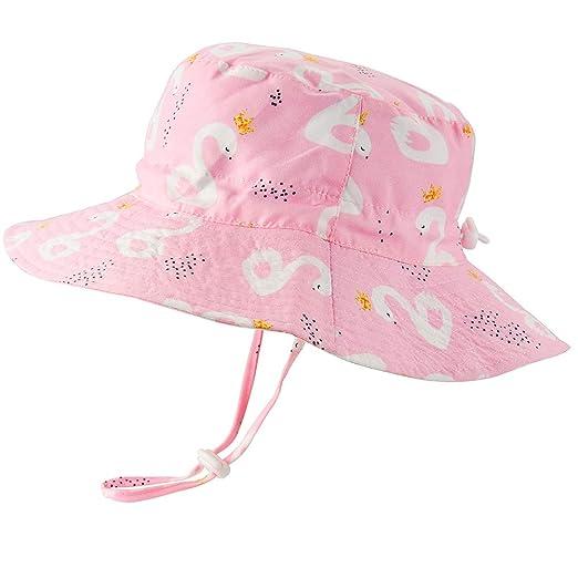 40f93b013 Baby Girls Sun Hat Adjustable - Outdoor Toddler Swim Beach Pool Hat Kids  UPF 50+ Wide Brim Chin Strap Summer Play Hat
