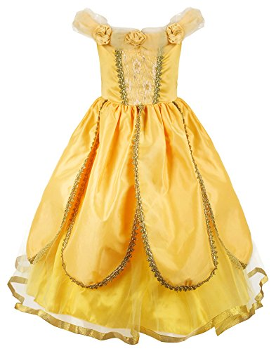 JerrisApparel Princess Belle Costume Deluxe Party Fancy Dress Up for Girls (8 years, Yellow One) (Deluxe Belle Costume)
