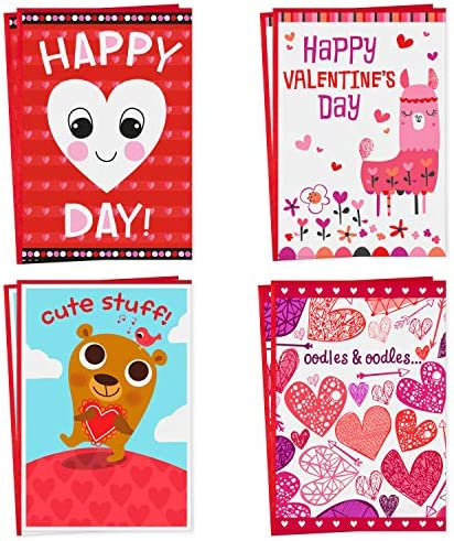 Hallmark Valentines Day Cards Assortment for Kids, 8 Valentine's Day Cards with Envelopes (Llama, Bear, Hearts)