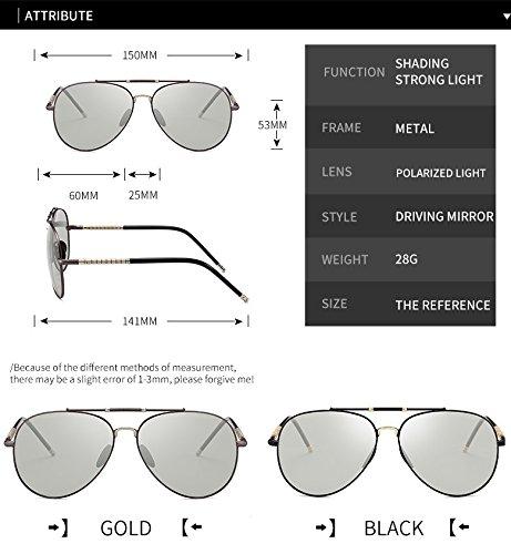 Piloto HD Todo de Color MXNET Photochromic Sol de para Sol Unisex Gafas Sol Gafas Gafas de Cambio día Chameleon para de polarizado Black el Gun Adultos Color rrS7R