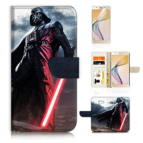 70%OFF (For Samsung J7 Prime / J7 V / J7 Perx / J7 2017 / J7 Sky Pro / Galaxy Halo ) Flip Wallet Style Case Cover, Shock Protection Design with Screen Protector - B31011 Starwars Darth Vader