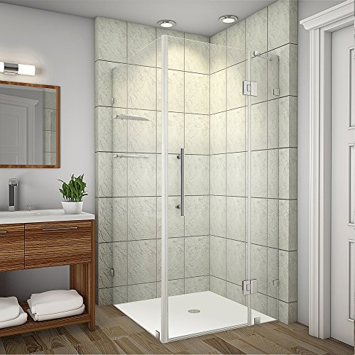 """Aston Avalux GS Completely Frameless Shower Enclosure with Glass Shelves, 32"""" x 32"""" x 72"""", Polished Chrome"""