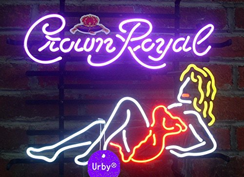 Urby® 24''x20'' Larger Crown Royal Girl Beer Bar Neon Sign 3-Year Warranty-Best Choice!