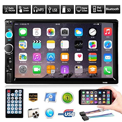 (Euone Multimedia Player Host, 7'' HD Bluetooth Touch Screen Car Stereo Radio 2 DIN FM/MP5/MP3/USB/AUX)