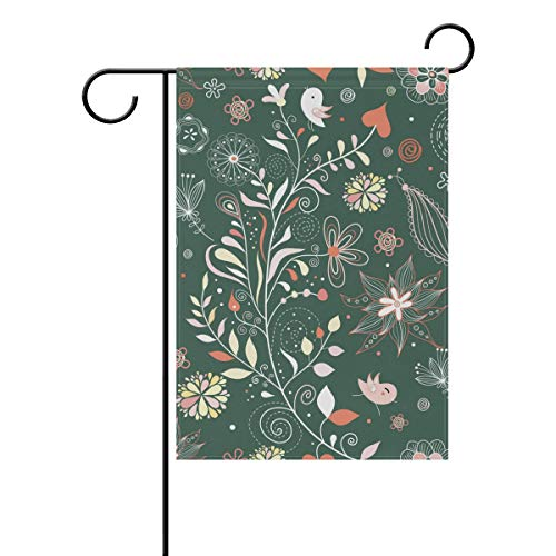 Chic Houses Watercolor Plant Seriess Pattern Outdoor Garden Flags Colorful Flower Branch Cute Bird Vertical Double Sided Home Decorative House Yard Sign 12 x 18 Inch 2030329