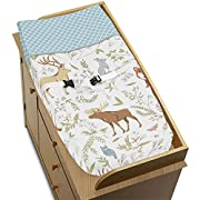 Sweet Jojo Designs Blue, Grey and White Woodland Animal Toile Baby Girl or Boy Changing Pad Cover