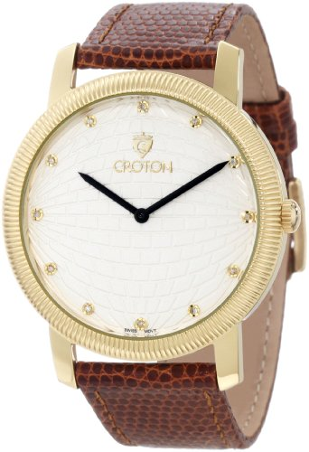(Croton Men's CN307298HBYL Diamond Accented Light Silver Textured Dial Brown Lizard Leather Watch)