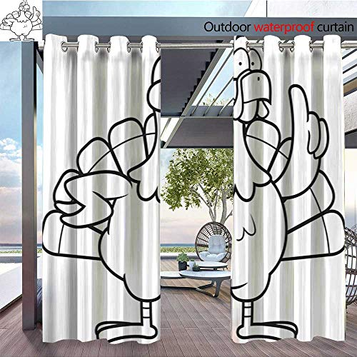 BlountDecor Outdoor- Free Standing Outdoor Privacy Curtain Turkey Idea for Front Porch Covered Patio Gazebo Dock Beach Home W96 x L84/Pair