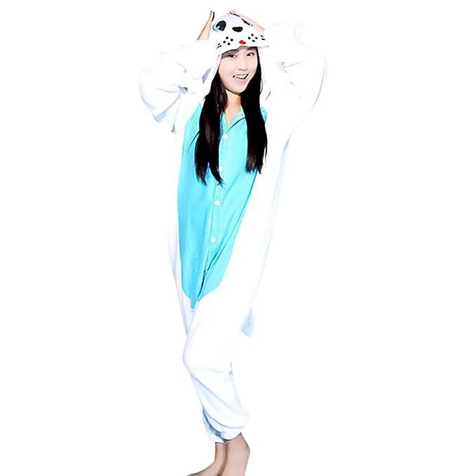 MissFox Pijamas Kigurumi Disfraces Cosplay de Animales Enteros para Adultos Unisexo Pijama Kigurumis Azul Sello XL