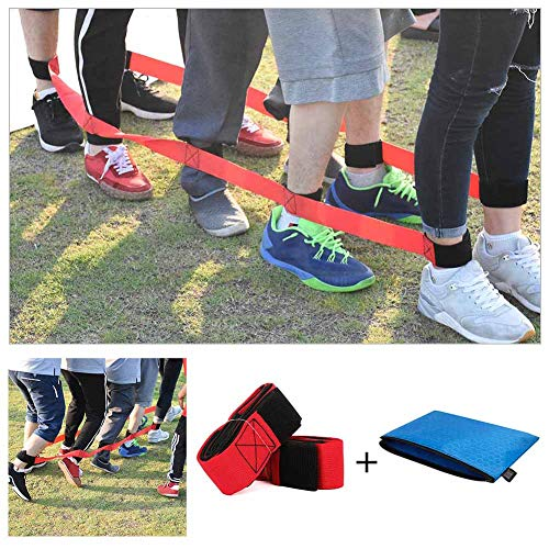 Chengcaifengye 4 Legged Race Bands Outdoor Game for Kids Adults Birthday Team Party Games with Carry Bag( 4 Legged Red)]()