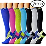 Compression Socks (7 Pairs)15-20 mmhg is BEST Graduated Athletic & Medical for Men & Women, Running, Travel, Nurses, Pregnant - Boost Performance Blood Circulation & Recovery(Large/X-Large,Assorted10)